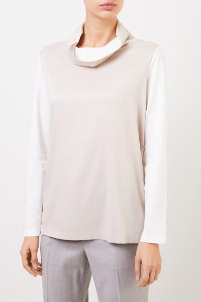 Fabiana Filippi Silk-Cotton-Longsleeve Beige/White