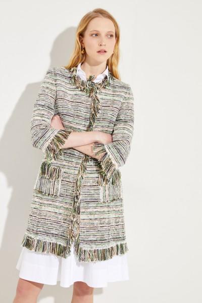 Kurzer Tweed-Mantel mit Fransen Grün/Multi