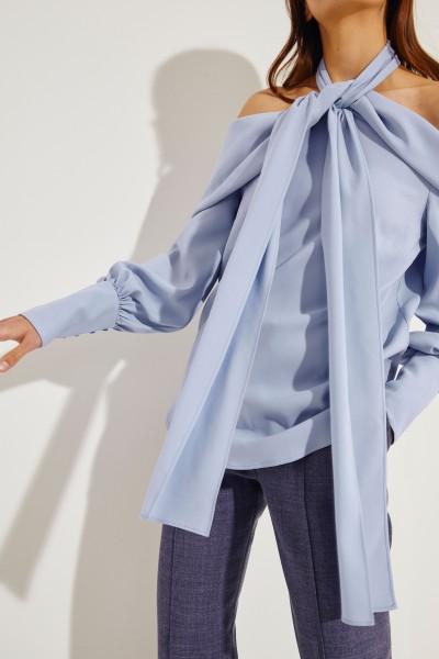 Oscar de la Renta Silk blouse with tie element Blue