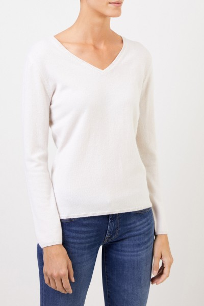Uzwei Cashmere pullover with v-neck White