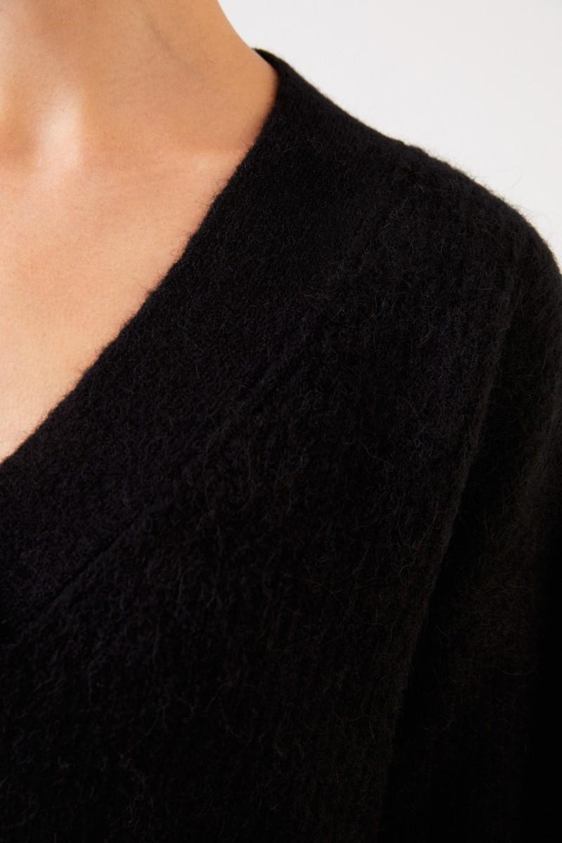 Ganni Alpaca-Pullover mit V-Neck Schwarz