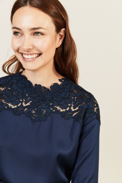 Seiden-Bluse 'Mia' Marineblau