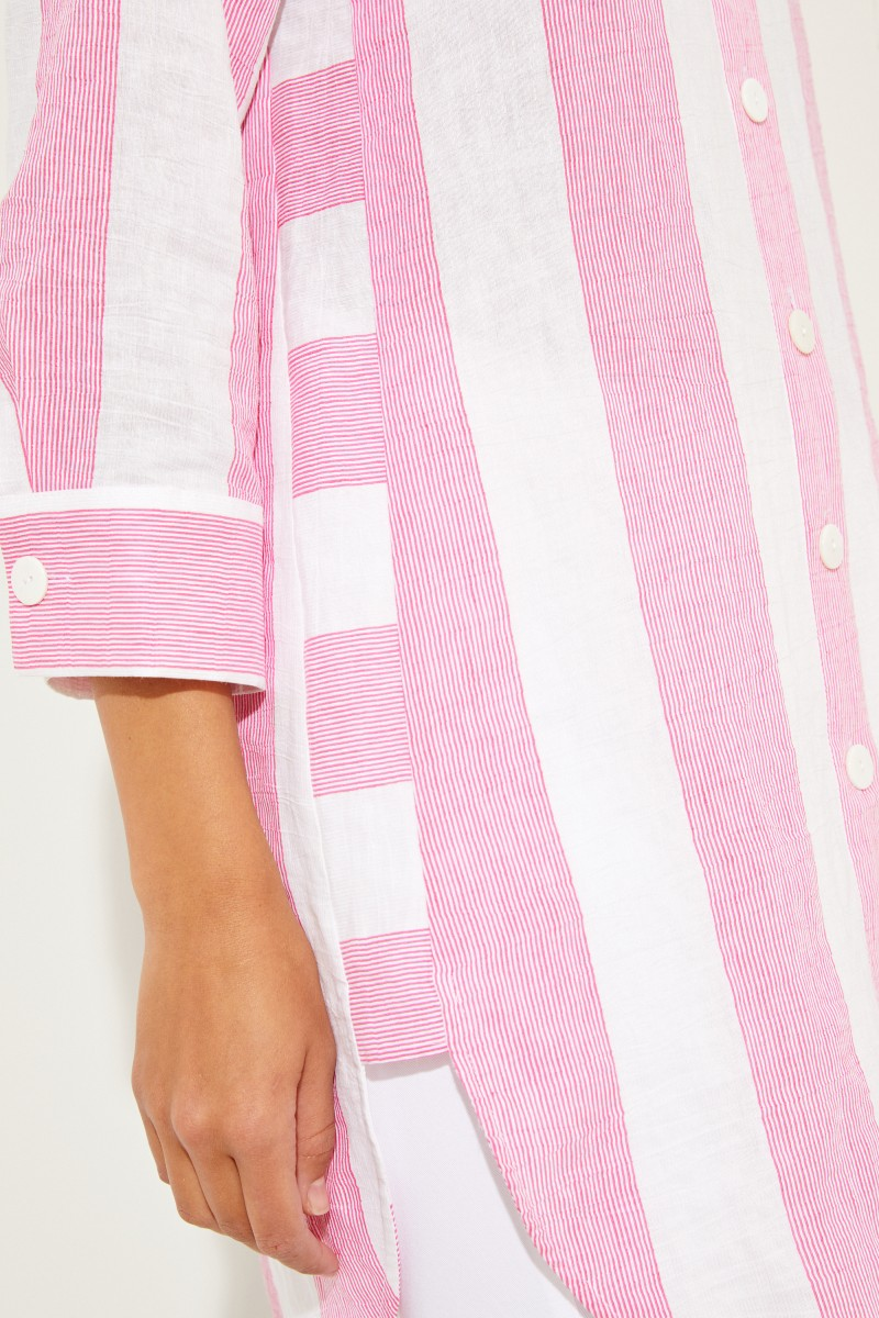 Gestreifte Baumwoll-Leinen-Tunika Pink/Weiß