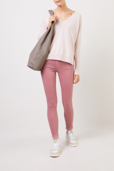 V-neck Cashmere pullover with slits Light Pink