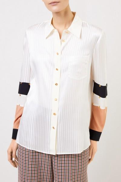 Tory Burch Seiden-Bluse mit Streifendetails Crème/Multi