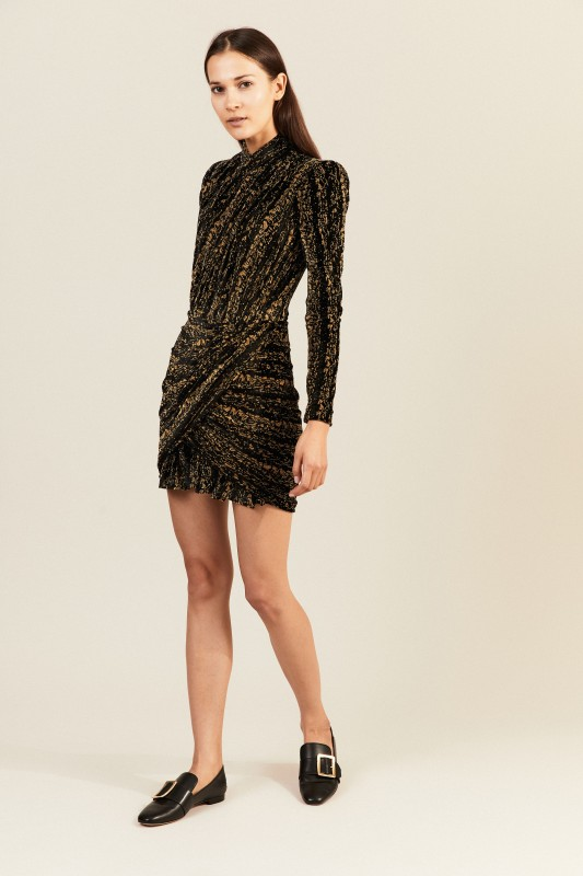 Kurzes Kleid Schwarz/Gold