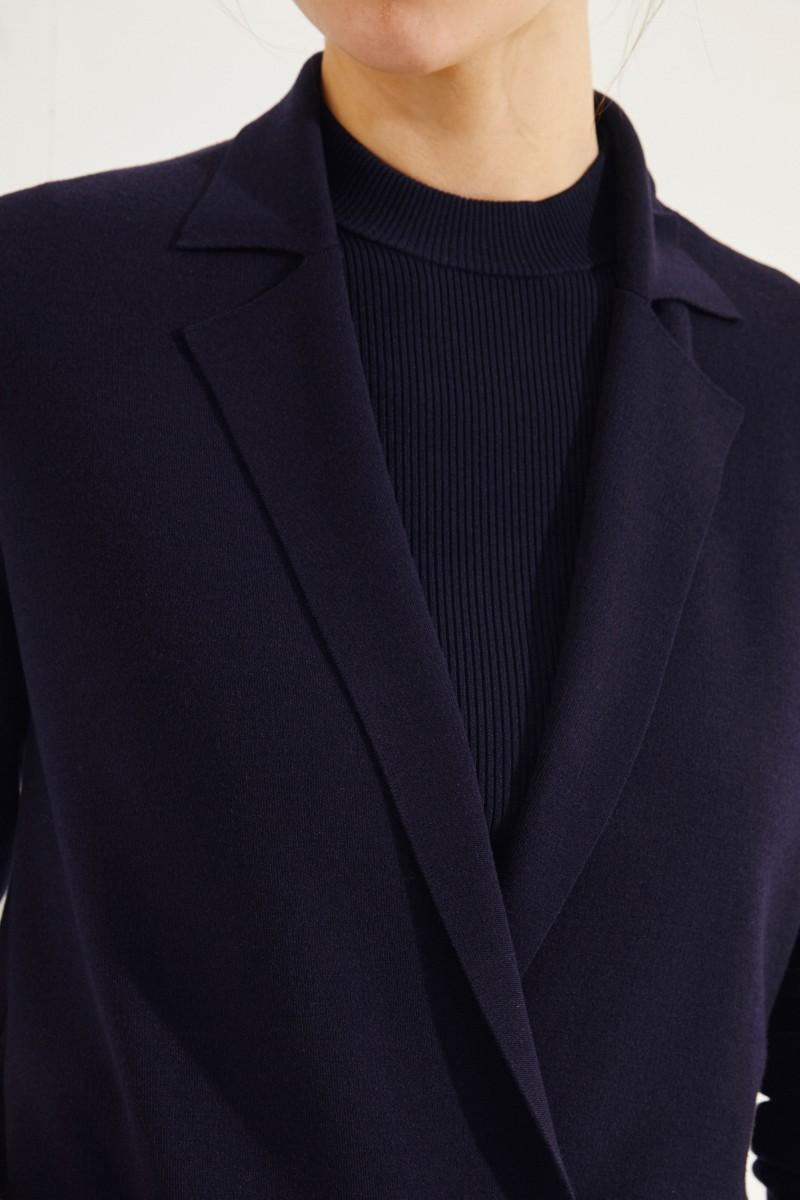 Langer Woll-Blazer Blau