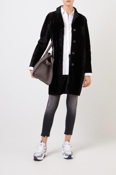 Reversible lambskin coat 'Serena Astracan' Black
