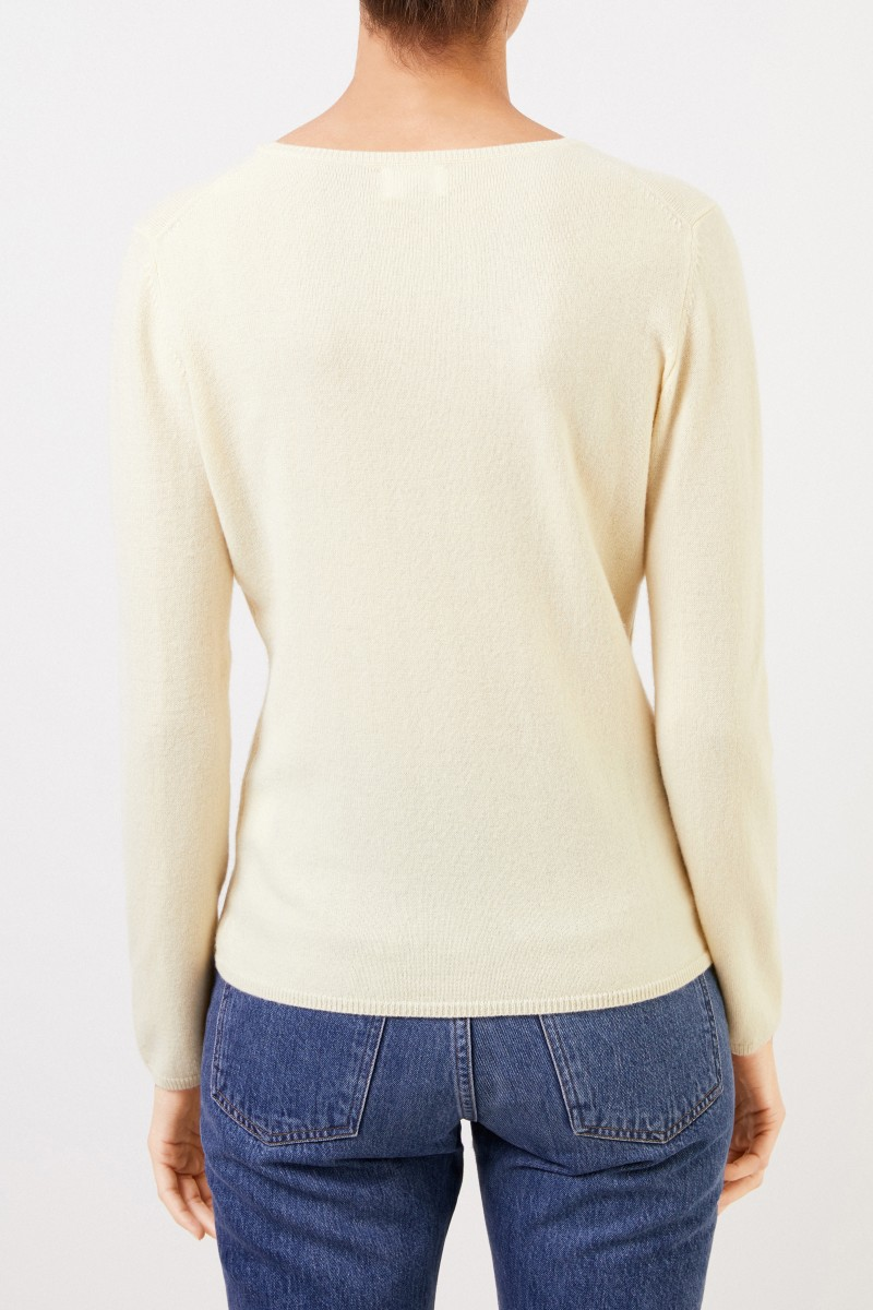 Cashmere-Pullover mit R-Neck Hellgelb