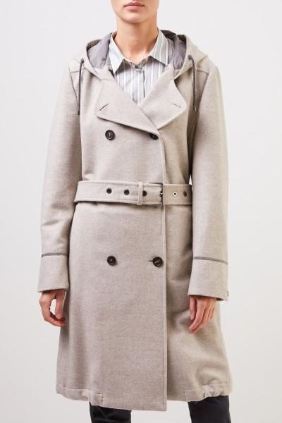Brunello Cucinelli Wool cashmere coat with belt Beige