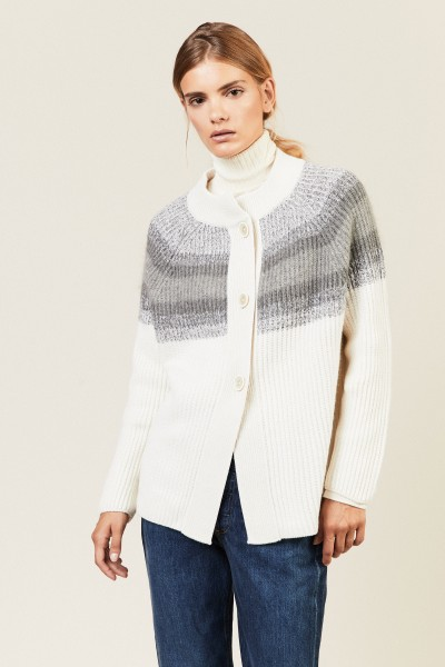 Woll-Cashmere-Cardigan mit Paillettenverzierung Grau/Crème