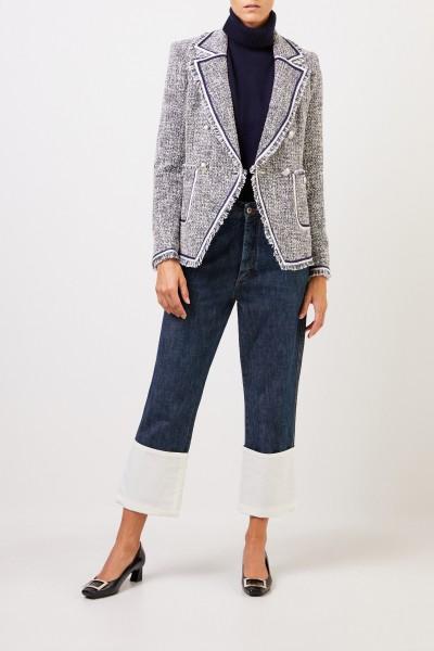 Veronica Beard Zweireihiger Tweedblazer mit Fransen-Detail Blau/Multi
