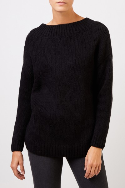 Fabiana Filippi Wool pullover with knitted collar Black