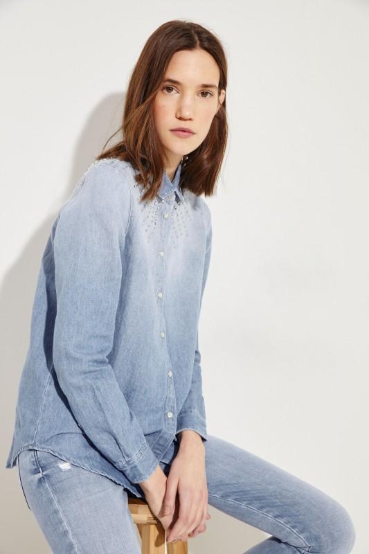 Jeanshemd mit Steinbesatz Blau
