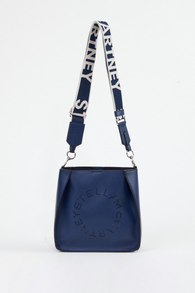 Stella McCartney Mini-Schultertasche mit Logo-Riemen Denim Blau