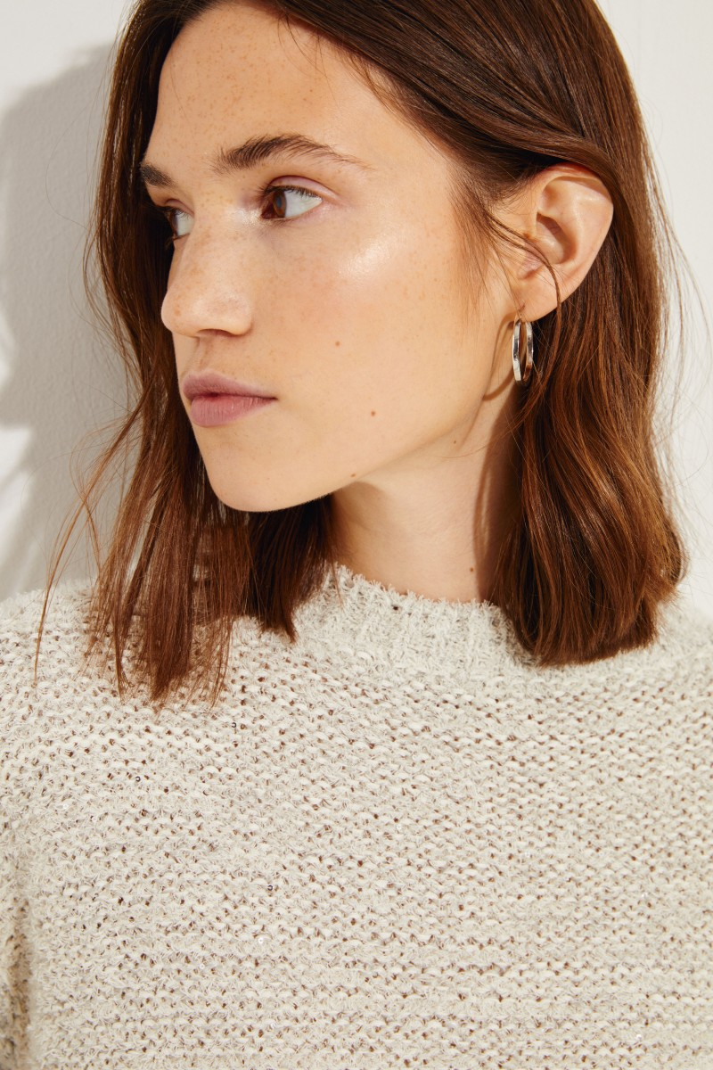 Baumwoll-Leinen-Pullover mit Pailletten Grau