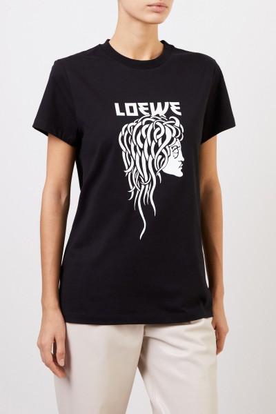 Loewe T-Shirt mit frontalem Logo-Detail Schwarz/Weiß