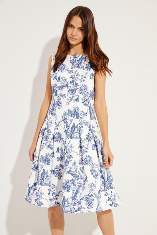 Klassisches Kleid mit ausgestelltem Rock Weiß/Blau