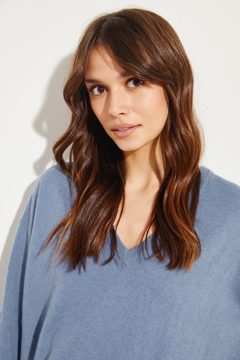Brunello Cucinelli Cashmere-Pullover mit V-Neck Blau