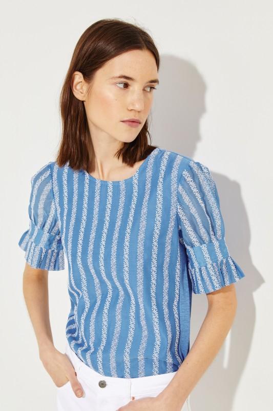 T-Shirt mit Stickereiverzierung Blau/Weiß