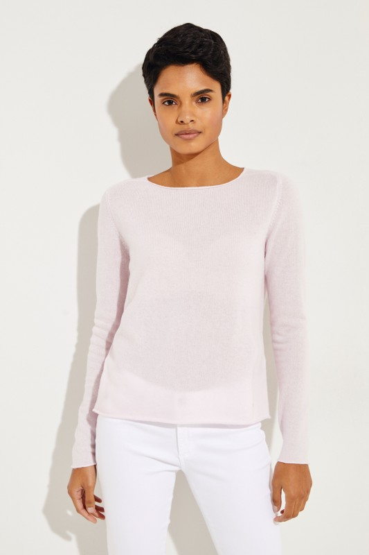 Cashmere-Pullover mit O-Neck Rosé