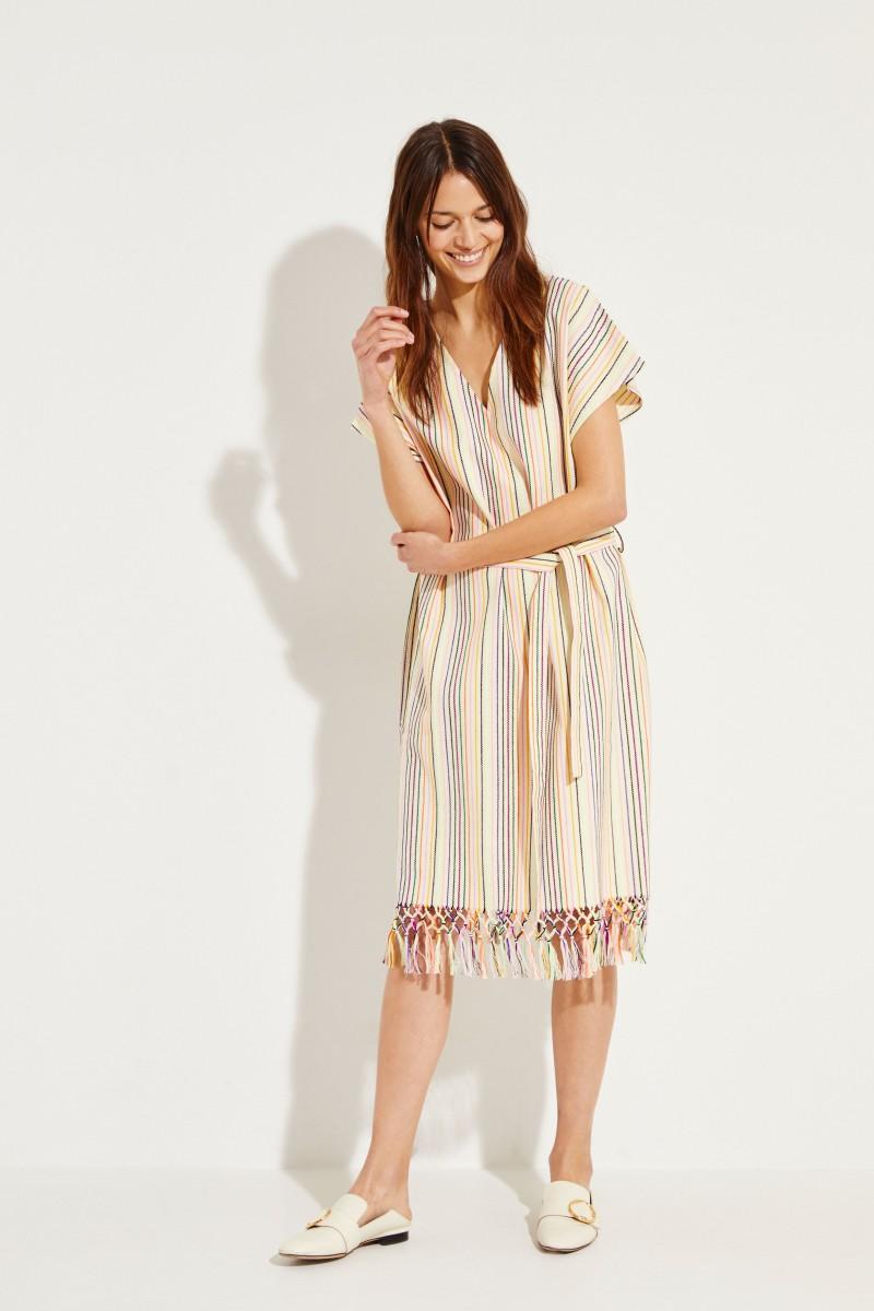 Maxi-Kleid mit Streifenmuster Créme/Multi