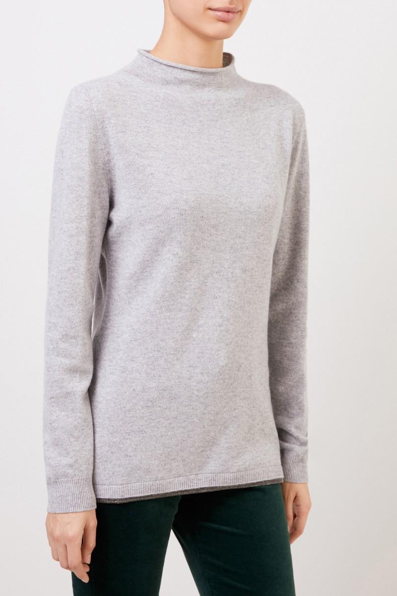 Fabiana Filippi Woll-Seiden-Pullover mit Perlenverzierung Grau