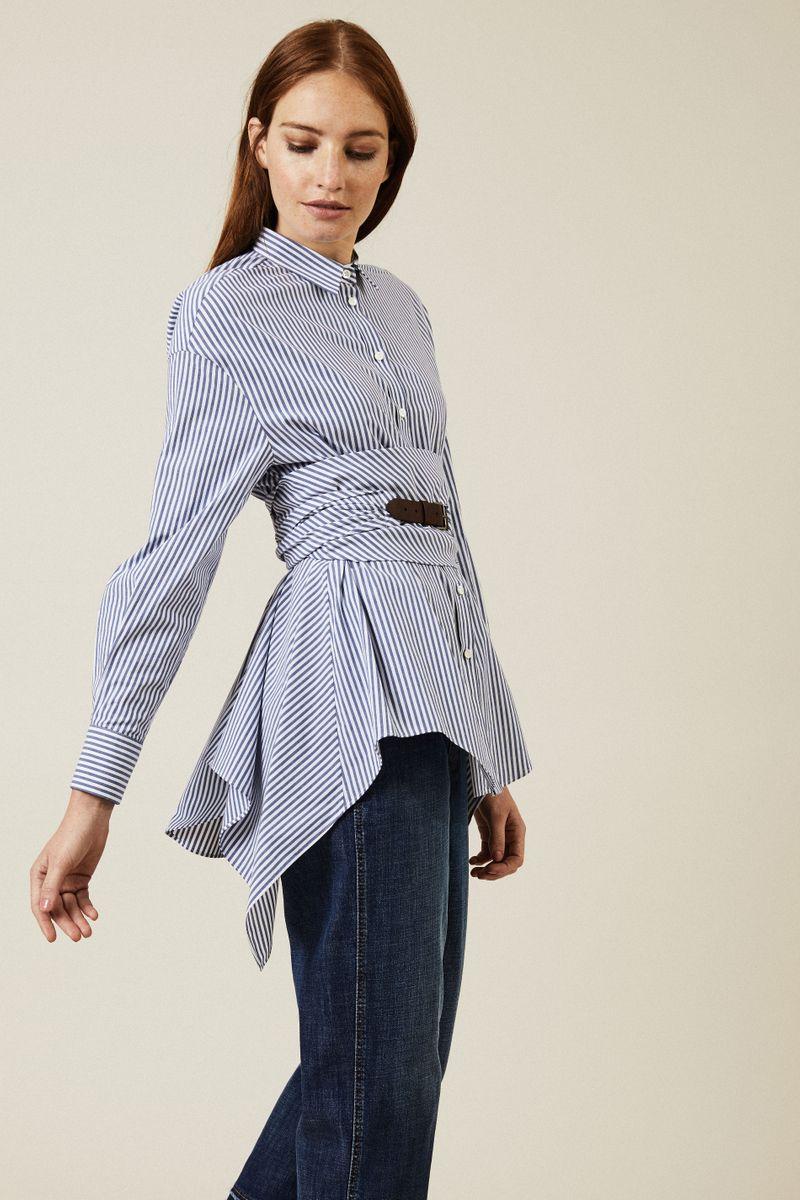 Gestreifte Baumwoll-Bluse mit Gürtel Navy/Weiß