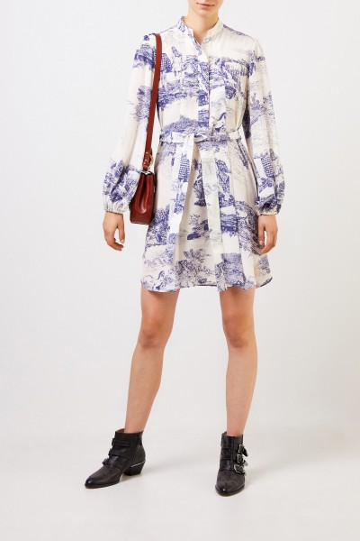 Silk dress with print white/blue