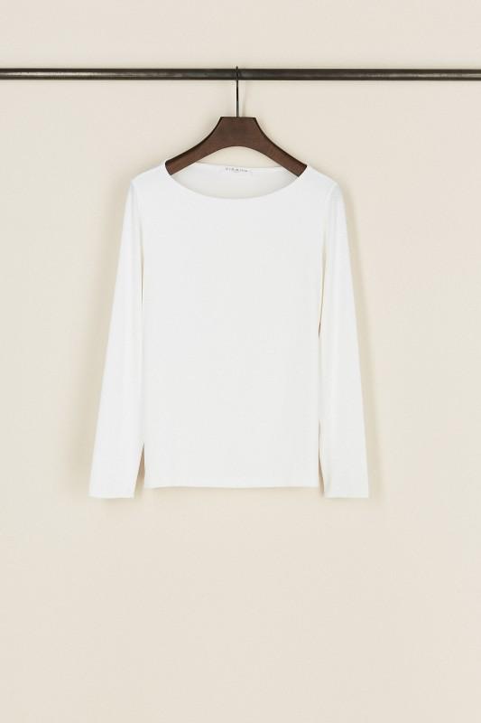 Basic-Shirt mit U-Boot-Ausschnitt Weiß