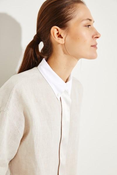 Leinen-Bluse mit Perlenverzierung Beige