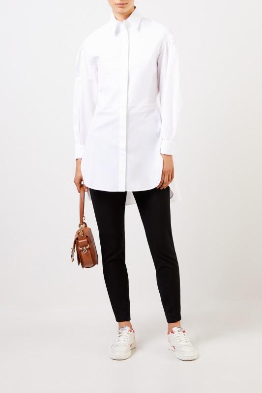Etro Lange Baumwoll-Bluse mit Struktur-Detail Weiß