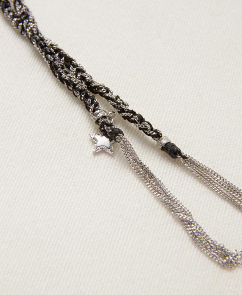 Carolina Bucci Armband 'Lucky Bracelet' 18K Weißgold/Schwarzes Seidenband