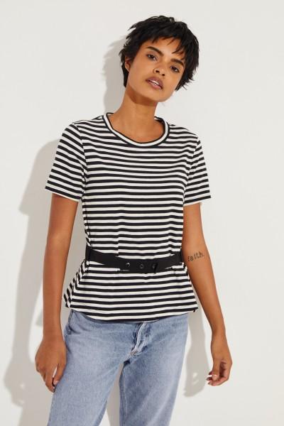 Gestreiftes T-Shirt mit Rippsband-Detail Schwarz/Crème