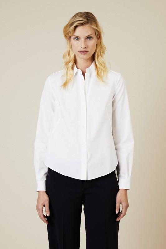 Ausgestellte Baumwoll-Bluse Weiß