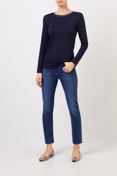 Ribbed longsleeve with pearl adornment Navy Blue