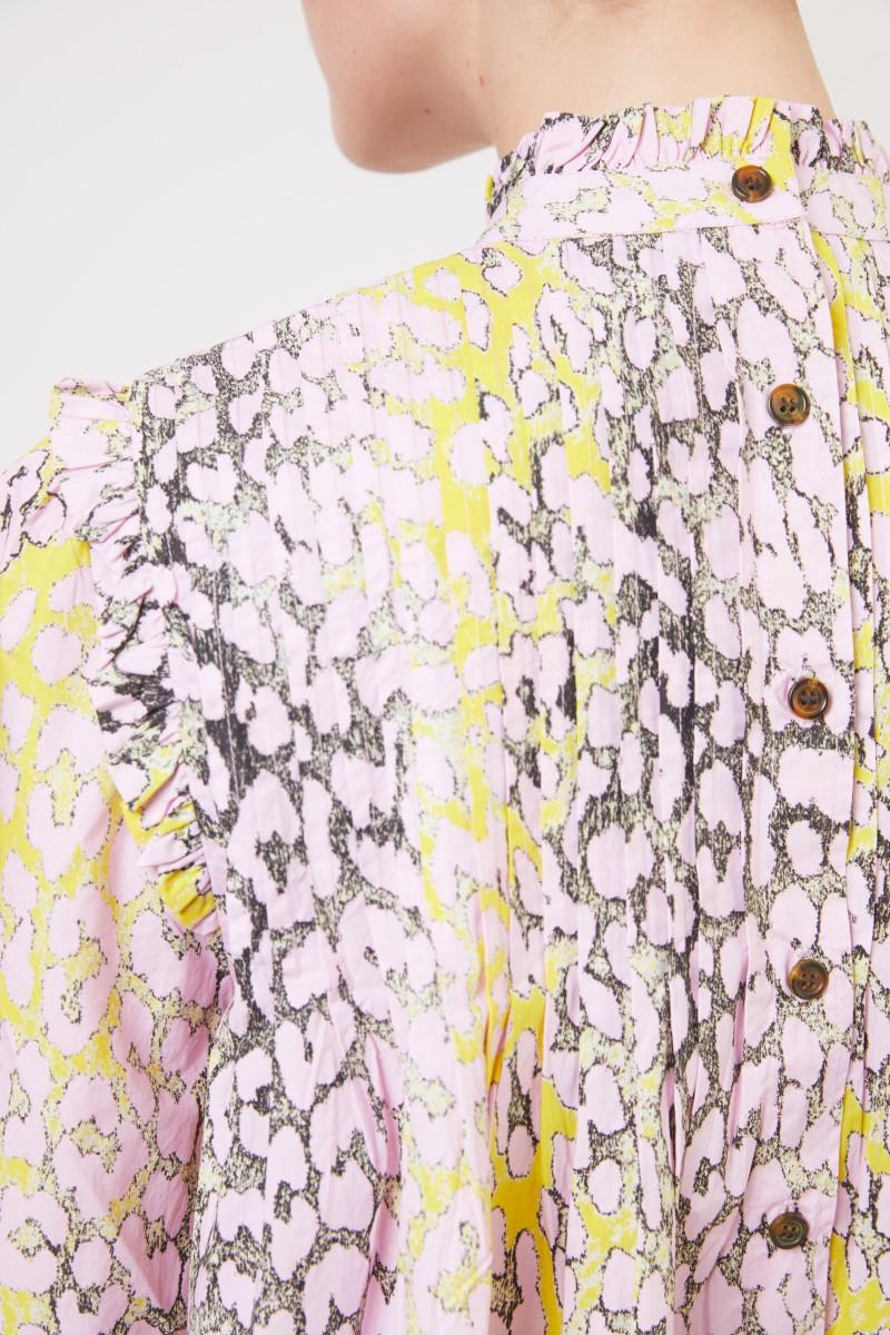Kurzes Kleid mit Leoprint Violett/Gelb