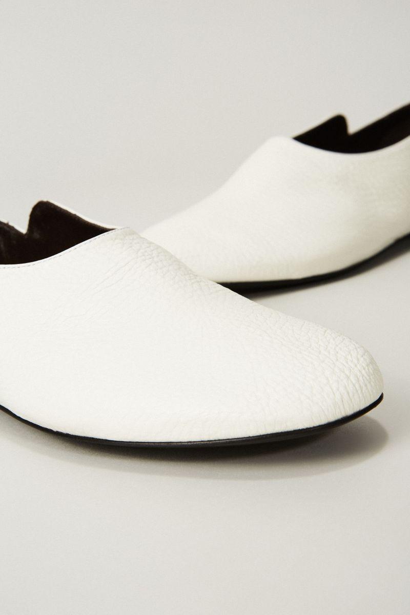 Leder-Slipper 'Boheme' Weiß