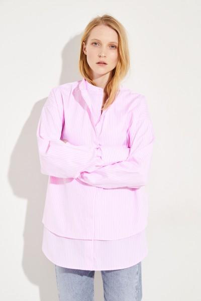 Oversize Baumwoll-Bluse Rosé/Weiß