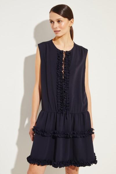 Kurzes Kleid mit Rüschen Marineblau