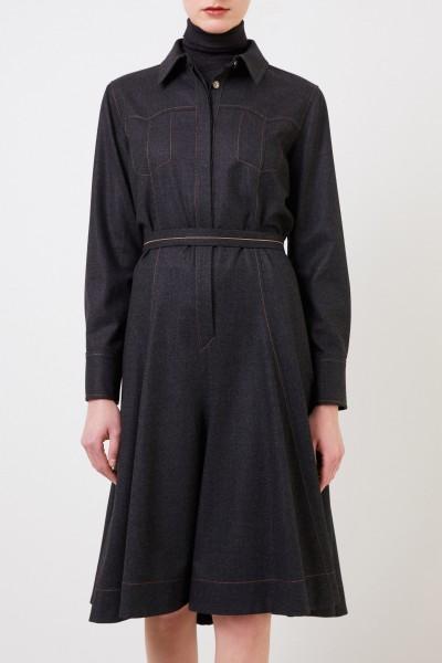 Brunello Cucinelli Woll-Hemdblusenkleid mit Perlenverzierung Grau