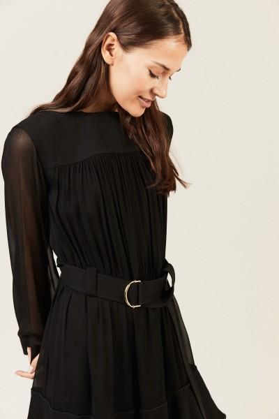 Kurzes Kleid mit Binde-Detail Schwarz
