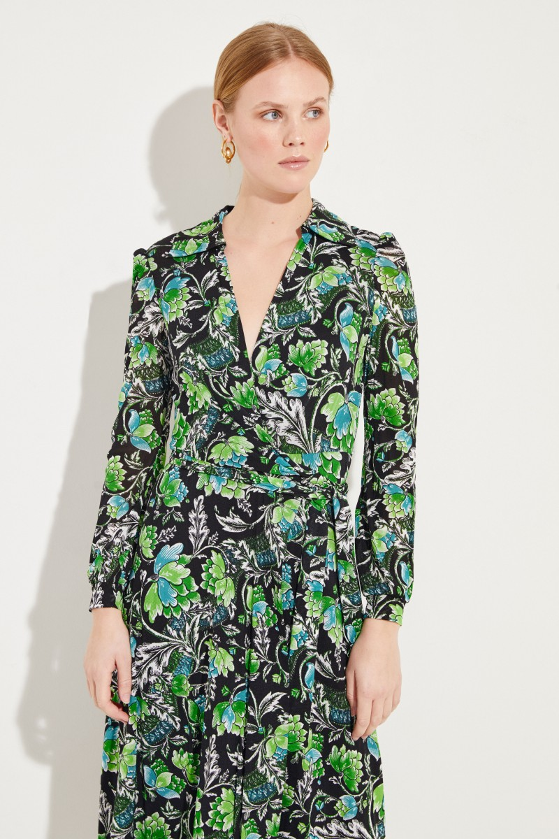 Kleid 'Phoenix' mit Wickeldetail Multi
