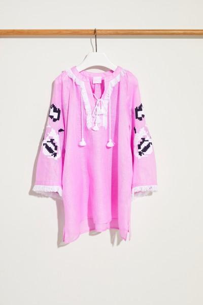 Kinder Leinen-Kleid 'Daniela Mini' mit Stickerei Rosé/Multi