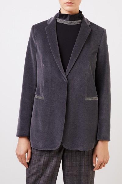 Fabiana Filippi Velvet blazer with pearl decoration Grey