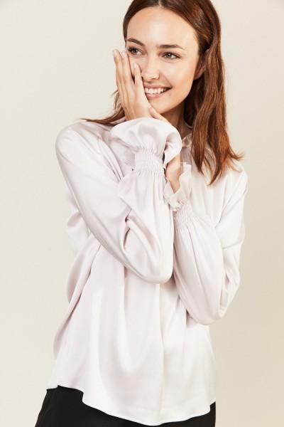 Seiden-Bluse 'Silky' mit Stehkragen Rosé
