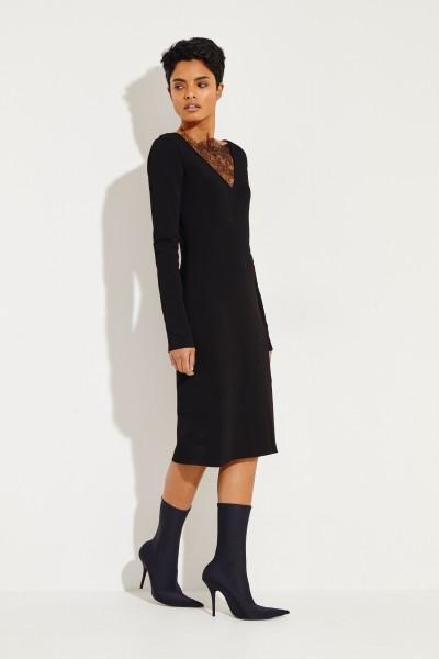 Givenchy Strickkleid mit Spitzeneinsätzen Schwarz