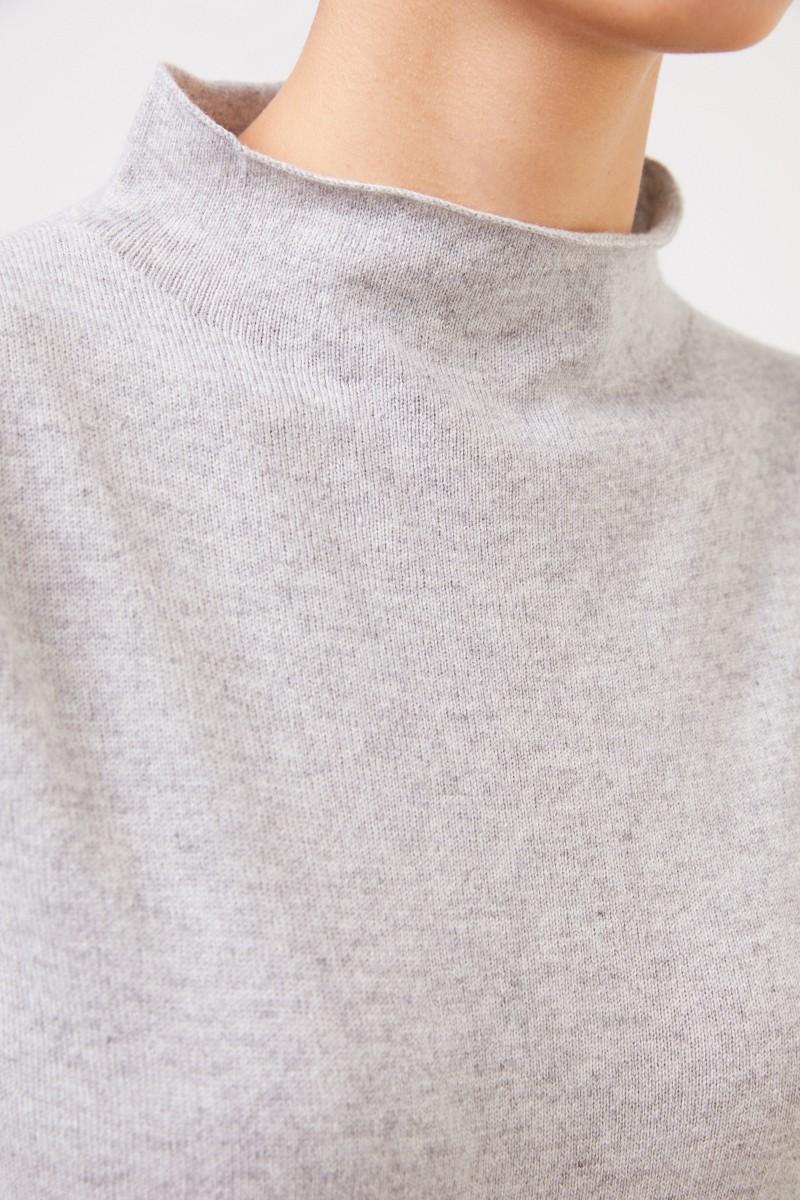 Fabiana Filippi Kurzarm Woll-Seiden-Pullover Grau