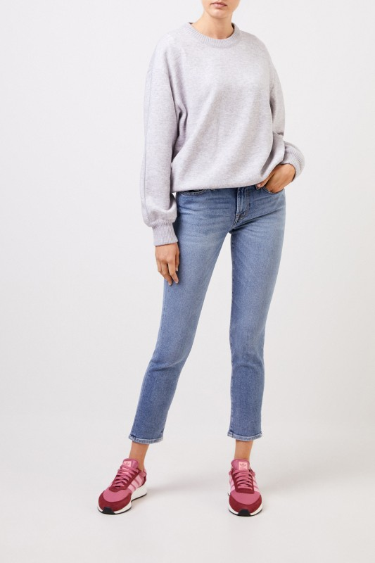 7 for all mankind Midrise-Jeans 'Roxaenne Crop' Hellblau