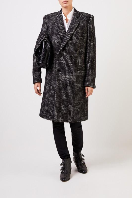 Woll-Mantel mit Fischgrätmuster Schwarz/Weiß